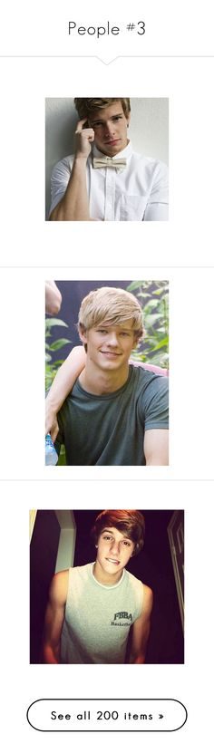"""People #3"" by oxwhatsernamexo ❤ liked on Polyvore featuring guys, boys, lucas till, people, cute boys, hair, doll parts, dolls, doll heads and heads"