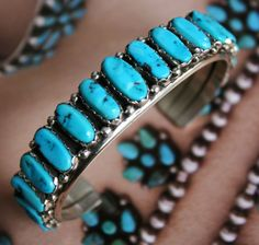 Vintage Navajo Native American Sterling Silver Turquoise Row Cuff Bracelet 57 gr
