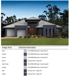 Exterior - Facade - Colour selection done with Colorbond Online Visualiser Exterior Color Schemes, Exterior House Colors, Colour Schemes, Exterior Design, Facade House, House Facades, Colorbond Roof, Garage Walls, Paint Colors For Home