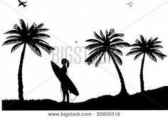 Beautiful young surfer girl standing on the beach between the palms silhouette