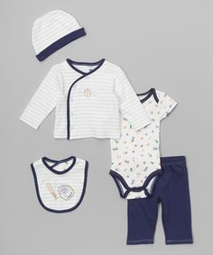 This Vitamins Baby Navy Baseball Five-Piece Layette Set - Infant by Vitamins Baby is perfect! #zulilyfinds