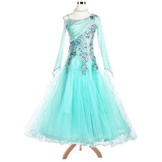 Blooming Pearly Ruch Ballroom Dance Competition Dress A5181  ... ($749) ❤ liked on Polyvore featuring dresses, flower printed dress, ruched dress, blue sparkly dress, pearl dress and sparkle dresses