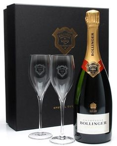 Bollinger Brut Special Cuvée in geschenkdoos met 2 flutes Bollinger Champagne, Happy 2nd Birthday, Sparkling Wine, James Bond, Red Wine, Alcoholic Drinks, Bubbles, Good Things, Bottle
