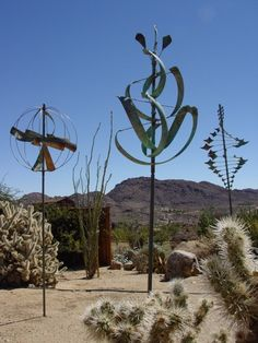 Wind sculpture garden at The Desert Lily in Joshua Tree