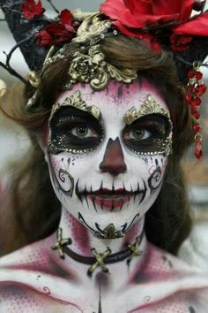 Airbrush body paint sugar skull. Such an interesting take on it.