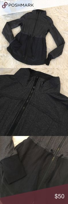 Inner Peace Lululemon jacket Reversible jacket. Fading to black side with two water spots to back (see pic). Gray and black side still looks great. Fun jacket. Thumb holes. Size 6 lululemon athletica Jackets & Coats