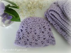 Lacy Crochet: Lacy Stitch Newborn Hat, Free Crochet Pattern.  Matching Blanket Pattern Available. Same Hat Size 3-6 Months Pattern Available.