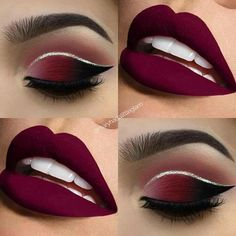 Make up tutorials. Make up products. Make up ideas. Make up on a budget Red Lip Makeup, Cute Makeup, Gorgeous Makeup, Makeup Eyeshadow, Beauty Makeup, Hair Makeup, Maroon Makeup, Burgundy Makeup Look, Burgundy Eyeshadow
