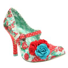 Unusual shabby chic floral shoes ~ I love love love the turquoise and red together<3