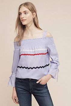 Smocked Pinstripe Open-Shoulder Top