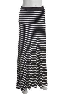 BCBGMAXAZRIA Black and White Striped Knit Karolin Maxi Skirt - Lyst