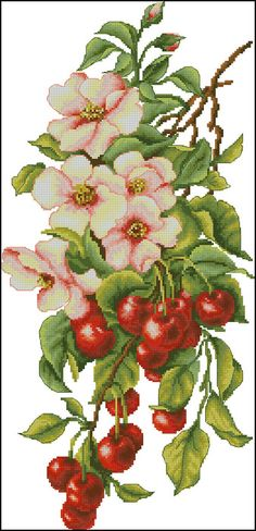 Cross stitch - flowers: Cherries and dog-rose (free pattern with chart)