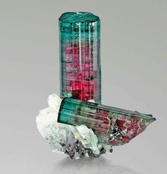 Gorgeous Watermelon Tourmaline (blue-green with pink core) from Pederneira, San Jose de Safira, Doce Valley, Minas Gerais, Brazil credit: viamineralia Visit Amazing Geologist for more..