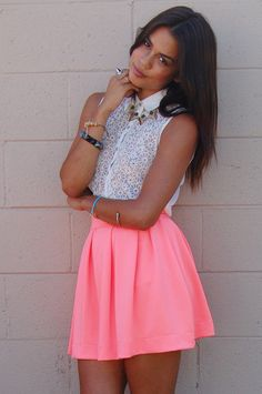 Neon coral skirt <3