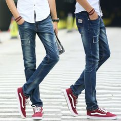 >> Click to Buy << Hot Men's 2017 autumn fashion trend Korean casual ground white leisure elastic soft force Slim solid color casual jeans M-3XL #Affiliate
