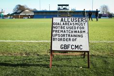 Gosport Borough offer a polite but almost unintelligible notice to their fans – a few spaces would've been handy. Gosport lost a nine-goal thriller 3-6.