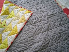 Love the herringbone stitch to dress up the solid back for my quilt