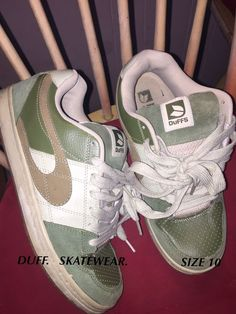 553e8bb3b7235 (eBay link) DUFFS Skate Shoes Size Adults 10 Green And Beige  fashion