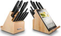 Tacoma de cuchillos con soporte para ipad, muy práctico para elaborar tus recetas favoritas que encuentres en internet