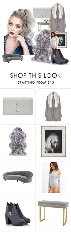 """Grey day rug"" by persian-rugs ❤ liked on Polyvore featuring beauty, Yves Saint Laurent, River Island, Eichholtz, Alberto Guardiani, Sterling Industries, hairtrend and rainbowhair"