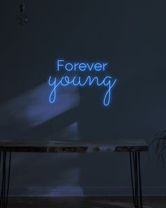 Forever Young Neon Sign - Medium / Blue / Whole Board