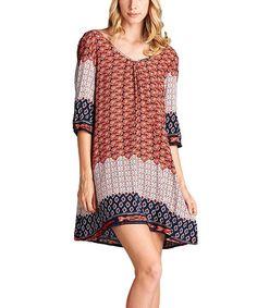Look at this #zulilyfind! Orange Arabesque Cutout Shift Dress #zulilyfinds