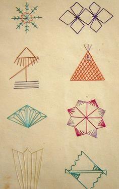 背守(せもり せまもり)の刺し見本  stitch samples for semamori (ornamental stitches or appliqués sewn on the back of baby's kimono in order to ward off the evil)