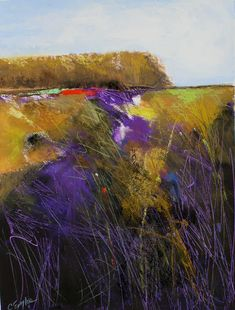 Daily Painters Abstract Gallery: Violet Marsh Ten, abstract landscape by Carol Engles