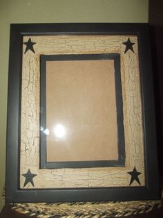 Primitive Crackle Wood Picture Frame & Matte ~ Holds 5 x 7 ~ Country Decor #NaivePrimitive