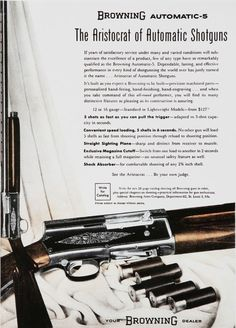 A True Classic the Browning A-5 Humpback 1952 ad.  $127.00 today the new version is $1500.00