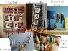 DIY///Ideias legais para organizar bijuterias -  pallet, cúpula de abajur, escada, saco de areia, corrente