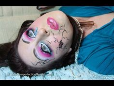 Broken Doll tutorial. If you'd prefer to stay sweet, just stop before you paint the breaks! #Halloween #halloween #doll #Doll #facepaint #Anime #anime #Coplay #cosplay #dollcostume #costume #ideas