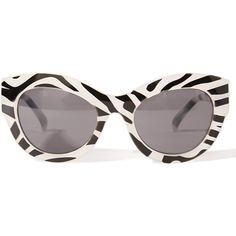 Cheap Monday Zebra Vicious Sunglasses (€20) ❤ liked on Polyvore featuring accessories, eyewear, sunglasses, glasses, zebra print glasses, cheap monday sunglasses, nose pads glasses, print sunglasses and cat eye sunglasses