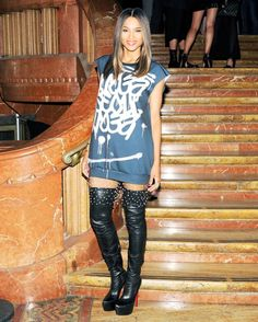 : Ciara played with proportions in a graffiti minidress and thigh-high boots at the Stefano Tonchi and Craig McDean party in NYC.