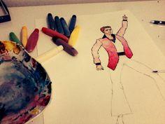 Croqui anos 70. Aquarela e lápis de cor