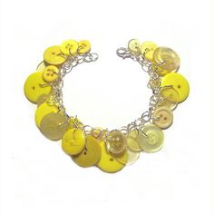 Yellow Button Charm Bracelet Soft Yellow and by LovesParisStudio, $30.00
