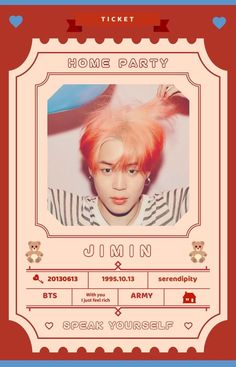 Bts Tickets, Party Tickets, Bts Jimin, Bts Bangtan Boy, Jhope, Taehyung, Bts Home Party, House Party, Mochi