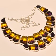 GORGEOUS HUGE! FACETED AMETRINE LOVELY NEW YEAR GIFT .925 SILVER NECKLACE #Handmade #Choker