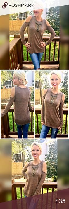 Love!! Mocha lightweight cold shoulder sweater😊 A must have color - beautiful shape- fits true to size textured fabric! Tops