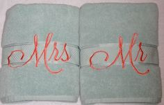 Mr. and Mrs. Bath Towel sets in Teal and Peach will make the perfect gift. Towel…