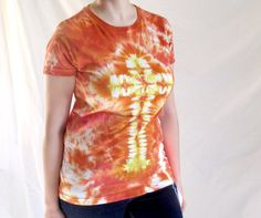 Womens Tie Dye in Orange Cross by TieDyeRedeemedByRed on Etsy, $17.00