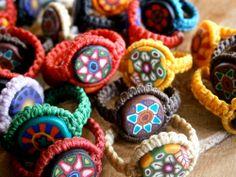 Macrame rings/Handmade polymer clay beads