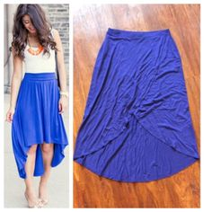 Royal blue maxi Great vivid color for spring and summer! This royal blue skirt has front wrap design with hi/Lo hem. Pull on elastic waist. 100% rayon. GAP Dresses
