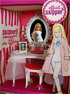 Vintage Skipper Suzy GOOSE Jeweled Vanity -my girlfriend got this for Christmas one year, with the doll and outfit too. I was so jealous! The outfits were too expensive, so my mother made some, then I did.
