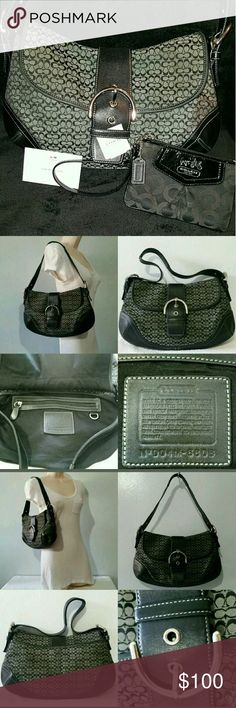COACH Shoulder Bag Nickel Hardware and Wallet Set In EXCELLENT CONDITION BrandCoach ColorBlack MaterialLeather StyleHobo Bag Depth3 Bag Length13 SizeMedium Bag Height8.5 INCLUDES Wallet Coach Bags Hobos
