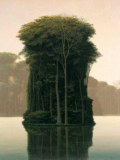 Mini forest on a lake island