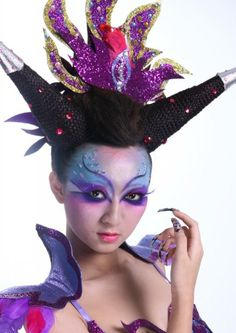 DIY Halloween Makeup : Creative Fantasy Makeup-blue-purple