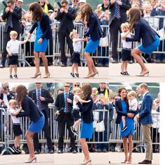 8 July 2016  Upon arrival, like any other two year old, when Prince George looked at his surrounding and saw a lot of strange faces plus hearing the roaring sound of jet airplanes, he became uncomfortable, maybe a little scared, then he looked up to his mother for a lift.  Safe in his mother's arm, the toddler calmed down and enjoyed the show.