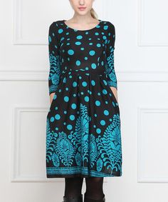 Look what I found on #zulily! Black & Teal Floral Pleated Dress #zulilyfinds