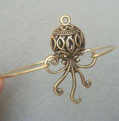 Octopus Bangle Bracelet by turquoisecity on Etsy, $9.95